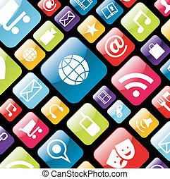 teléfono móvil, app, plano de fondo, icono