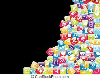 teléfono móvil, app, plano de fondo, iconos