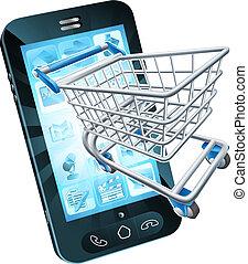 teléfono móvil, carro de compras