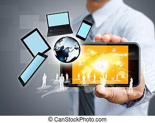 teléfono móvil, con, concepto de la corporación mercantil