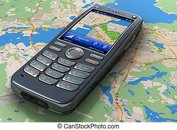 teléfono móvil, con, gps, navegación