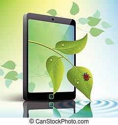teléfono móvil, con, hojas, y, mariquita