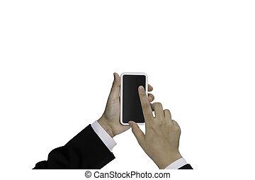 teléfono móvil, con, mano