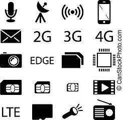 teléfono móvil, especificación, colección, icono