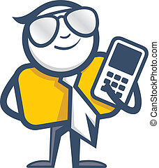 teléfono móvil, hombre, logotipo