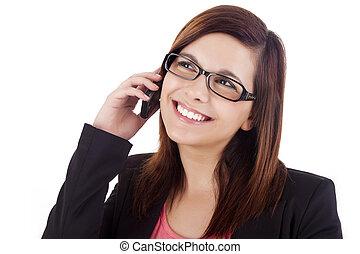 teléfono móvil, mujer, joven, hablar
