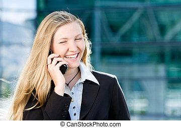 teléfono móvil, rubio, corporación mercantil de mujer