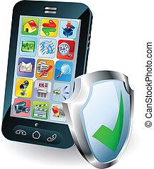 teléfono móvil, seguridad, concepto