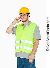 teléfono, móvil, sonriente, trabajador construcción, joven
