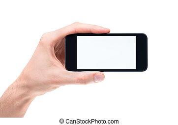 teléfono móvil, tenencia de la mano, blanco