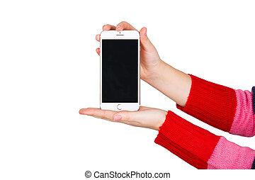 teléfono, manos
