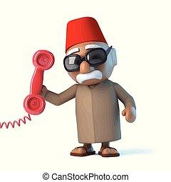 teléfono, marroquí, respuestas, 3d