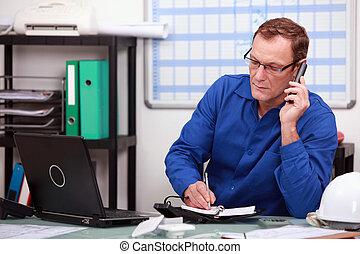 teléfono, mecánico, oficina