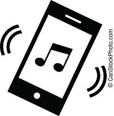 teléfono, melodía, icono, vector