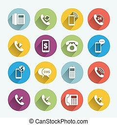 teléfono, microteléfono, plano, iconos