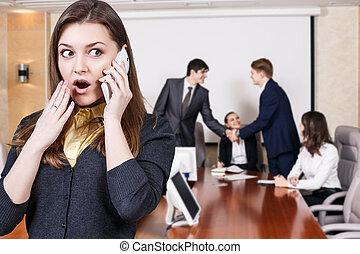 teléfono, mujer, empresa / negocio, hablar