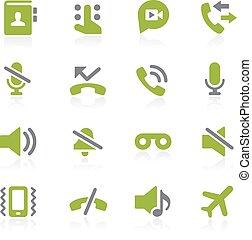 teléfono, natura, llamadas, interface.