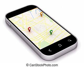 teléfono, navegación, mapa