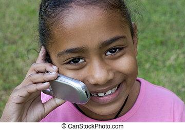 teléfono, niña