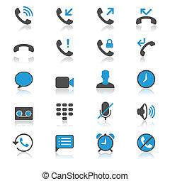 teléfono, plano, con, reflexión, iconos