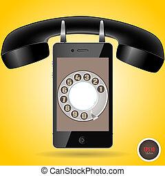 teléfono, retro, nuevo, uno