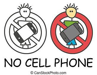 teléfono, style., móvil, no, aislado, hombre, icono, fondo...