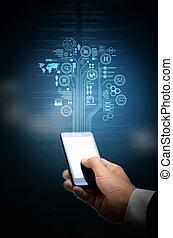 teléfono, tecnología, elegante,  internet
