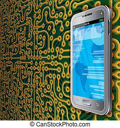 teléfono, touchscreen, plano de fondo