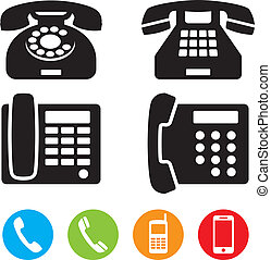 teléfono, vector, iconos