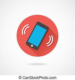 teléfono, vector, resonante, icono