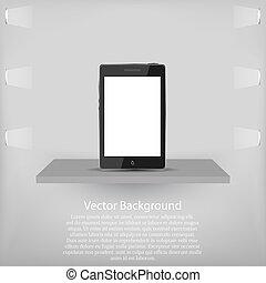 teléfono, vector, shelf., plano de fondo