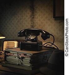 teléfono, vendimia, escritorio