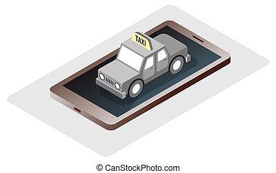 teléfono, viaje, taxi, isomatric, en línea, reservación, vector