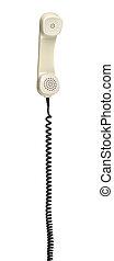 teléfono viejo, auriculares, con, espiral, cable