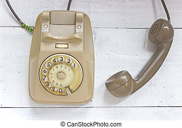 teléfono viejo, blanco, de madera, plano de fondo