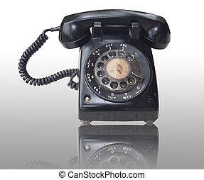 teléfono viejo, plano de fondo, aislado
