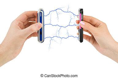 teléfonos móviles, conectado, manos