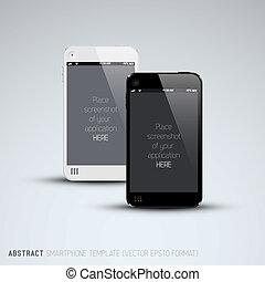 teléfonos móviles, resumen, negro, plantilla, blanco