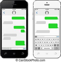 teléfonos móviles, teclado, virtual, alemania, alfabeto
