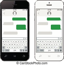 teléfonos móviles, teclado, virtual, alfabeto, coreano