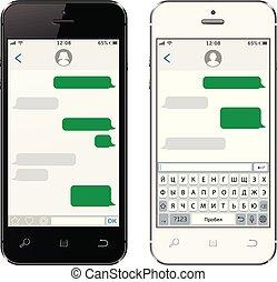 teléfonos móviles, teclado, virtual, alfabeto, ruso
