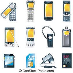 teléfonos móviles, vector, conjunto, icono