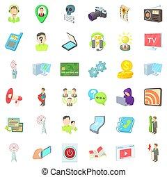 telégrafo, agencia, iconos, conjunto, caricatura, estilo