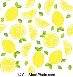 telón de fondo., colorido, fruta cítrica, collection., papel pintado, seamless, traslapo, mano, fondo., fruits, limones frescos, patrón, dibujado, vector.