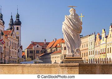 tel?, 古い, 有名な場所, 町, 共和国, チェコ