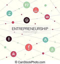 tel, association, entrepreneurship, branché, simple, investisseur, contient, toile, icons., gabarit, éléments, équipe, direction
