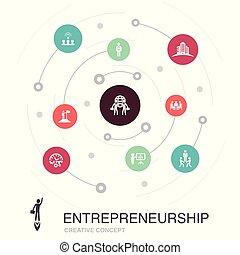 tel, association, entrepreneurship, coloré, investisseur, concept, cercle, direction, contient, icons., éléments, simple