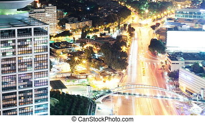 Tel Aviv at Night Aerial View