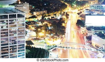 Tel Aviv at Night Aerial View
