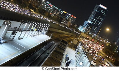 Tel Aviv at night. - Time lapse shot of highway in Tel Aviv...